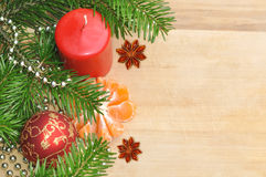 Green Christmas Tree, Red and Gold Ball, Mandarin as Holiday Dec Stock Images
