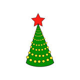 Green Christmas tree with red star. Green tree with a red star on a white background, vector Royalty Free Stock Photo