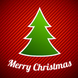 Green Christmas tree on red striped background royalty free illustration