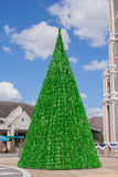 Green Christmas tree with the Roman Catholic Diocese at Chanthaburi province. Royalty Free Stock Photo