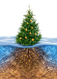 Green Christmas tree with roots beneath. Green Christmas tree with golden balls, roots in soil beneath stock illustration