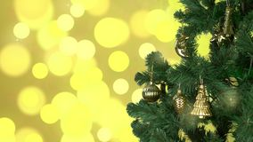 Green christmas tree rotate with gold decor on branches. Flickering gold background. Abstract christmas background. CU stock footage