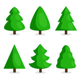Green Christmas tree set in cartoon style Royalty Free Stock Images
