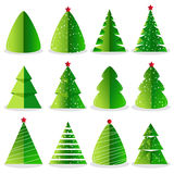 Green Christmas tree set in flat design. Green Christmas tree set vector illustration in flat design. Merry Christmas and Happy New Year collection  on white Royalty Free Stock Images