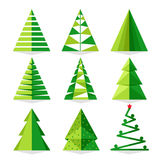 Green Christmas tree set in triangle style Royalty Free Stock Photos