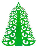Green Christmas tree shape with asterisks made of wood  decorati Royalty Free Stock Images