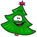 Green Christmas tree smile cartoon. Illustration isolated image character Stock Photos