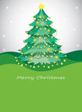 A green christmas tree with sparkling series lights Stock Images