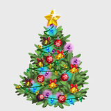 Green Christmas tree with star, ball and garland Royalty Free Stock Image