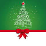 Green Christmas Tree Star Ribbon Green Background Royalty Free Stock Photo