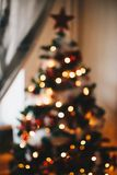 Green Christmas Tree With String Lights Royalty Free Stock Photography