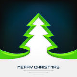 Green christmas tree stripe shape modern design on dark blue Stock Photo