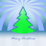 Green christmas tree and striped background Royalty Free Stock Photo
