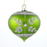 Green christmas tree toy on white background Royalty Free Stock Photography