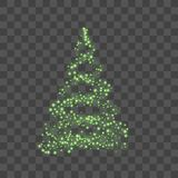 Green Christmas tree on transparent background Happy New Year Vector illustration. Christmas tree on transparent background. Green Christmas tree as symbol of Stock Photography