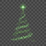 Green Christmas tree on transparent background Happy New Year Vector illustration. Christmas tree on transparent background. Green Christmas tree as symbol of Stock Photos