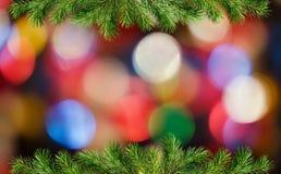 Green Christmas tree twigs borders and colorful holiday lights. Green Christmas tree twigs borders and holiday colorful lights on dark background. Christmas stock image