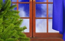 Green christmas tree, window and night snow nature Royalty Free Stock Image