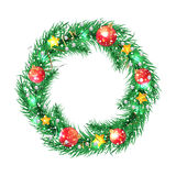 Green christmas tree wreath with Christmas Royalty Free Stock Images