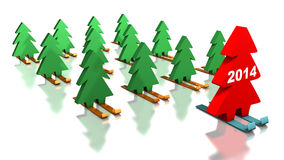 Green Christmas trees skiing with the red leader. 2014 on the leader. Abstract illustration royalty free illustration
