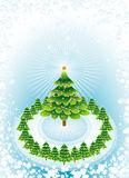 Green christmas trees,vector. Christmas with pines and snow,vector illustration Royalty Free Stock Images