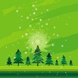 Green christmas,vector. Christmas night in the pine forest,vector illustration Stock Images