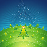 Green christmas,vector. Green christmas with forest of pine and snowflakes in the sky,vector illustration Royalty Free Stock Photo