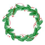 Green christmas vector wreath with decorations isolated on white background vector illustration