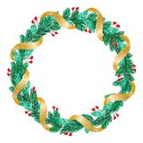 Green Christmas vector wreath with golden ribbon and decorations on white background with place for text vector illustration