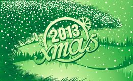 Green Christmas winter forest with tree branch Stock Photo