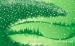 Green Christmas winter forest with tree branch Stock Images