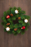 Green Christmas wreath with cookies and decorations, top view stock photo