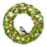 Green christmas wreath with decorations. EPS 10 Royalty Free Stock Images