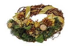 Green christmas wreath with decorations, isolated on white Stock Image