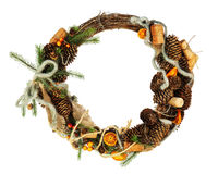Green Christmas Wreath with Decorations Isolated on White Background. Royalty Free Stock Photo