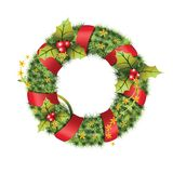 Green christmas wreath with decorations isolated on white background. Royalty Free Stock Photos