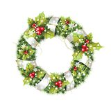 Green christmas wreath with decorations isolated on white background. Royalty Free Stock Images