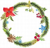 Green christmas wreath with decorations Stock Images