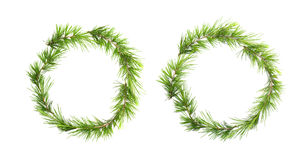 Green christmas wreath with pine branches isolated on white Stock Image