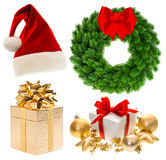 Green christmas wreath with red ribbon bow Royalty Free Stock Photos