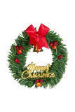 Green Christmas Wreath Red Ribbon. Royalty Free Stock Image