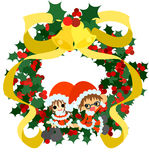Green Christmas wreath and Santa Claus Stock Images