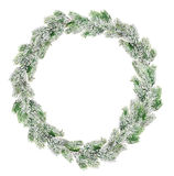 Green Christmas wreath in snow isolated on white Stock Photography
