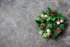 Green Christmas wreath Stone background Royalty Free Stock Photography