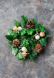 Green Christmas wreath Stone background Stock Photography