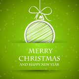 Green chritmas card with stars and ball Stock Images