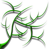 Green Chromed Abstract tribal Tree with shadow Stock Photography