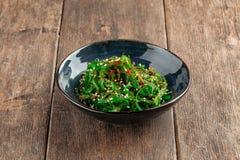 Free Green Chuka Seaweed Salad In A Black Bowl Stock Photo - 192480520