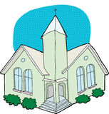 Green Church Drawing Stock Photography