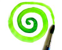 Green circle. Watercolor painting with green circle Stock Photos